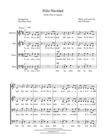 Feliz Navidad SATB a cappella for 4 voices