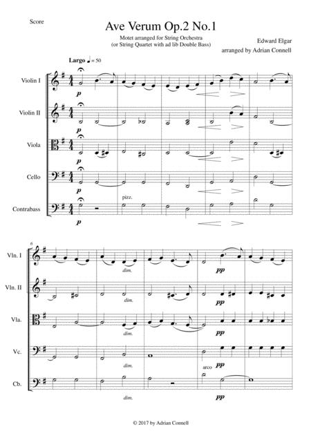 Elgar - Ave Verum Op.1 No.1 arranged for String Orchestra - Score