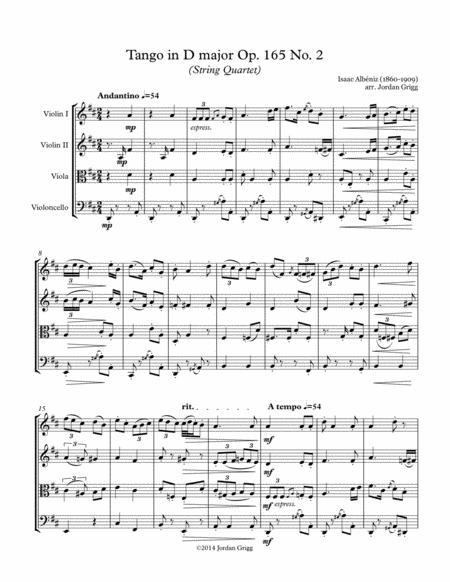 Tango in D major (String Quartet), Op.165 No.2