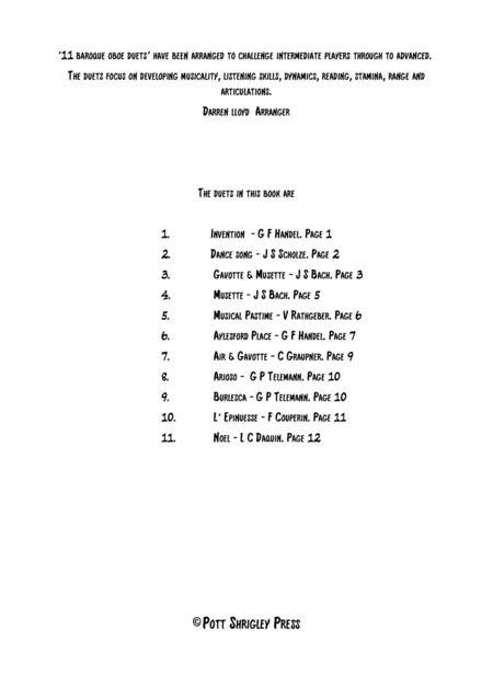 11 Baroque Oboe duets