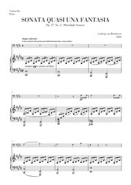 Download Moonlight Sonata For Cello And Piano Sheet Music By