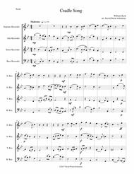 Cradle Song for recorder quartet