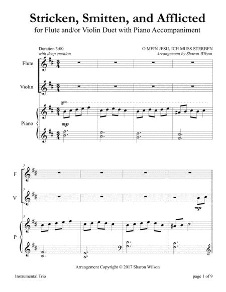 Stricken, Smitten, and Afflicted (for Flute and/or Violin Duet with Piano accompaniment)