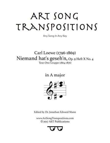 Niemand hat's gesehen, Op. 9 Heft X no. 4 (A major)