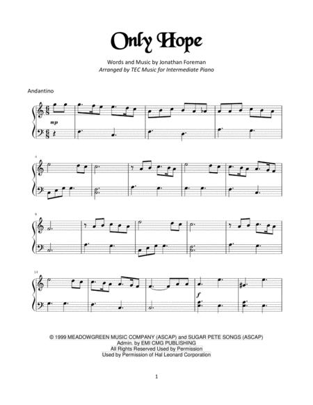 Download Only Hope For Piano Sheet Music By Mandy Moore Sheet