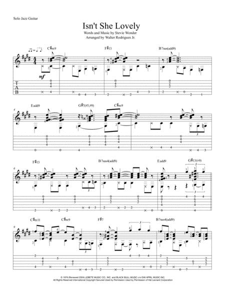 Download Isnt She Lovely Solo Jazz Guitar Sheet Music By Stevie
