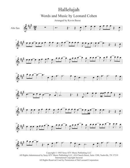 Hallelujah - Alto Sax