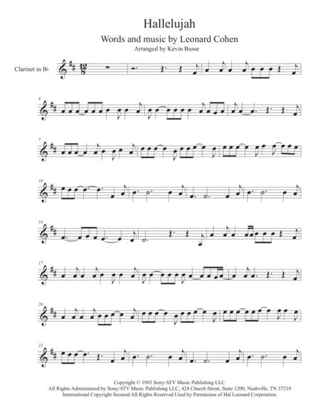 graphic regarding Free Printable Clarinet Sheet Music titled Down load Hallelujah - Clarinet Sheet Tunes Via Leonard Cohen