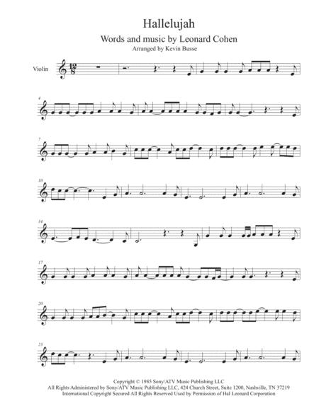 Hallelujah - Violin By Leonard Cohen - Digital Sheet Music For ...