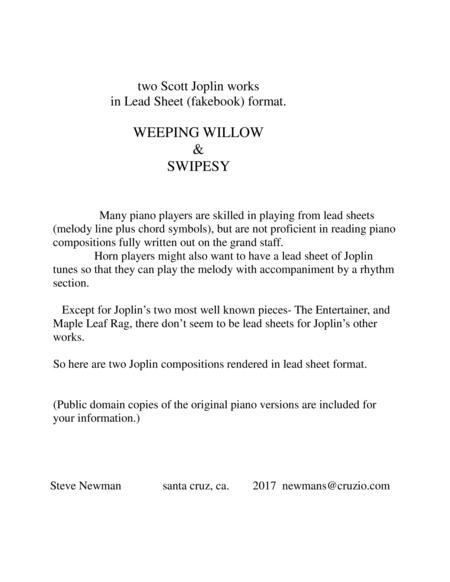 2 Scott Joplin piano pieces (Swipesy, Weeping Willow) in LeadSheet format- Single note melody + chord symbols