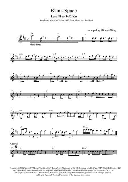 Blank Space - Alto or Baritone Saxophone Solo