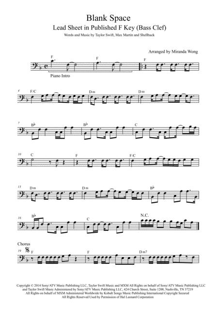 Preview Blank Space Trombone Or Bassoon Solo With Chords By