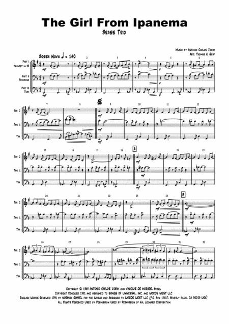 The Girl From Ipanema (Garota de Ipanema) - Jobim - Bossa Nova - Brass Trio