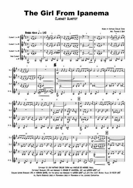 The Girl From Ipanema (Garota de Ipanema) - Jobim - Bossa Nova - Clarinet Quartet