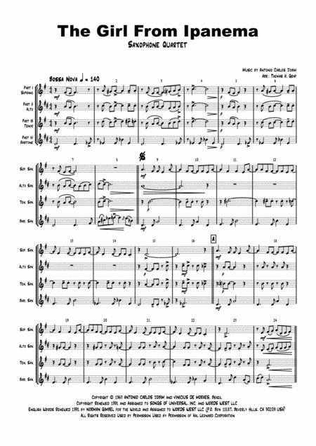 The Girl From Ipanema (Garota de Ipanema) - Jobim - Bossa Nova - Saxophone Quartet
