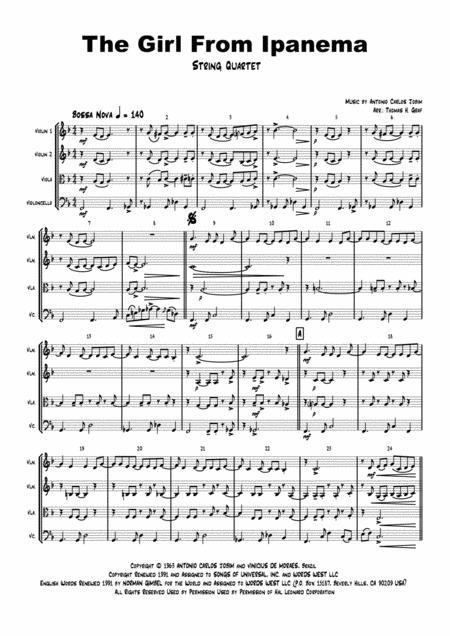 The Girl From Ipanema (Garota de Ipanema) - Jobim - Bossa Nova - String Quartet