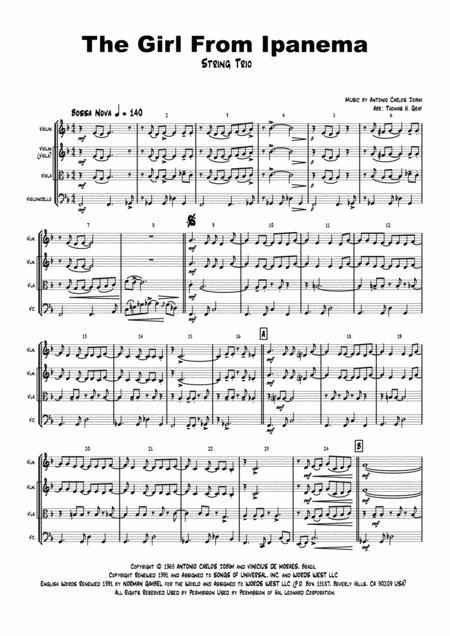 The Girl From Ipanema (Garota de Ipanema) - Jobim - Bossa Nova - String Trio