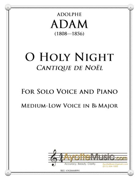 O Holy Night / Cantique de Noel for Medium-Low Voice in Bb Major