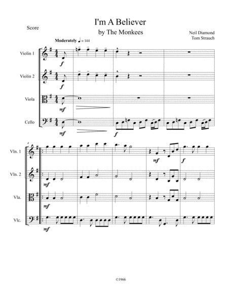 I'm A Believer for String Quartet Intermediate
