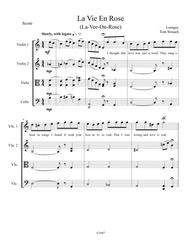 La Vie En Rose for String Quartet Intermediate/Advanced includes English lyrics in 1st violin