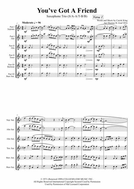 You've Got A Friend - Carole King - Saxophone Trio