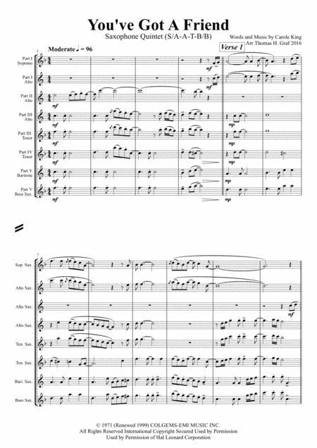 You've Got A Friend - Carole King - Saxophone Quintet