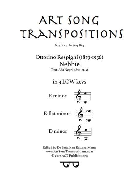 Nebbie (in 3 low keys: E, E-flat, D minor)