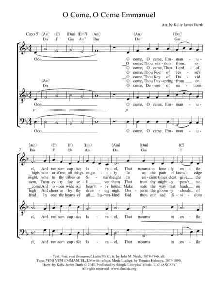 o come, o come, emmanuel (men's choral arrangement) by john m. neale,  thomas helmore - digital sheet music for lead sheet,octavo - download &  print s0.297511 | sheet music plus  sheet music plus