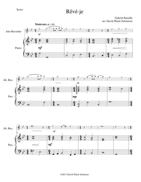 Rêvé-je (Am I dreaming) for alto recorder and piano