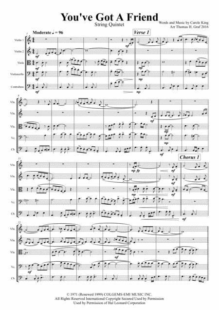 You've Got A Friend - Carole King - String Quintet