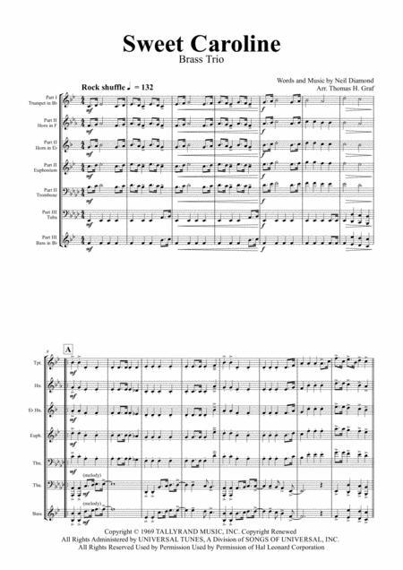 Sweet Caroline - Neil Diamond Classic - Brass Trio