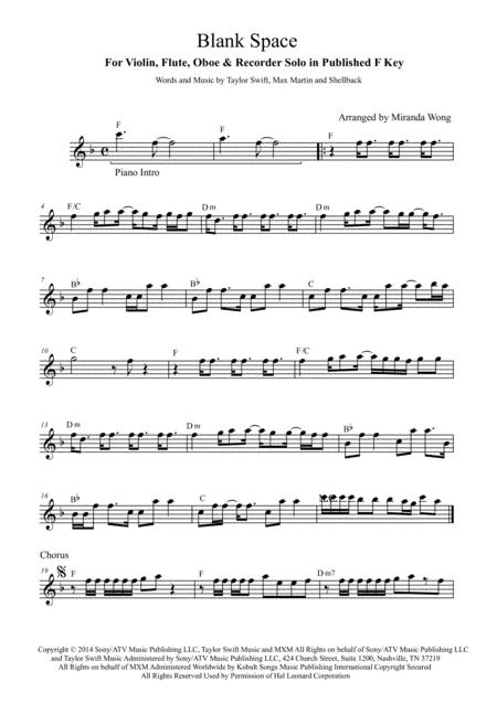 Blank Space - Flute or Oboe and Piano Accompaniment Part