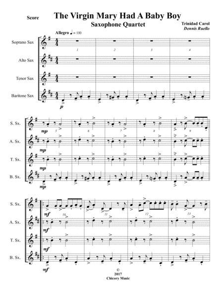 The Virgin Mary Had A Baby Boy - Saxophone Quartet - Intermediate