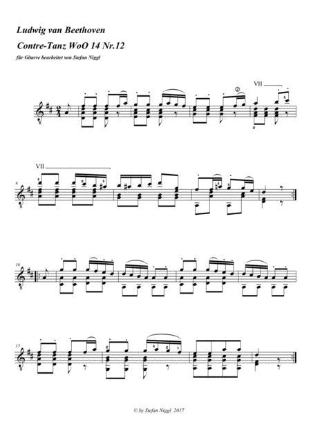 Beethoven : Contradanse WoO 14 no.12 for guitar solo