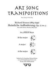 Heimliche Aufforderung, Op. 27 no. 3 (in 3 high keys: B-flat, A, A-flat major)