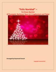 Feliz Navidad - For Brass Quintet (2 Trumpets in B Flat; Baritone/  Horn in F; Euphonium and Tuba) optional Drum Set and Tambourine