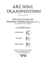 Heimliche Aufforderung, Op. 27 no. 3 (in 3 medium keys: A-flat, G, G-flat major)