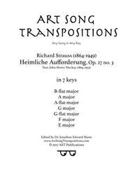 Heimliche Aufforderung, Op. 27 no. 3 (in 7 keys: B-flat, A, A-flat, G, G-flat, F, E major)