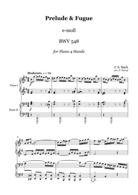 J. S. Bach - Prelude & Fugue BWV 548 - 1 piano 4 hands