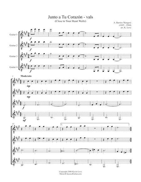 Junto a Tu Corazón (Guitar Quartet) - Score and Parts