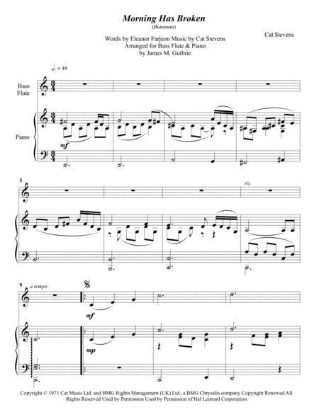 Cat Stevens:Morning Has Broken for Bass Flute & Piano