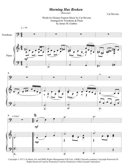 Preview Cat Stevens: Morning Has Broken For Trombone & Piano By Cat