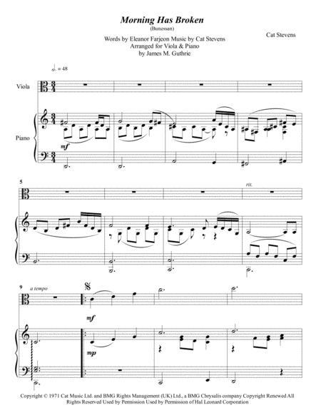 Cat Stevens: Morning Has Broken for Viola & Piano