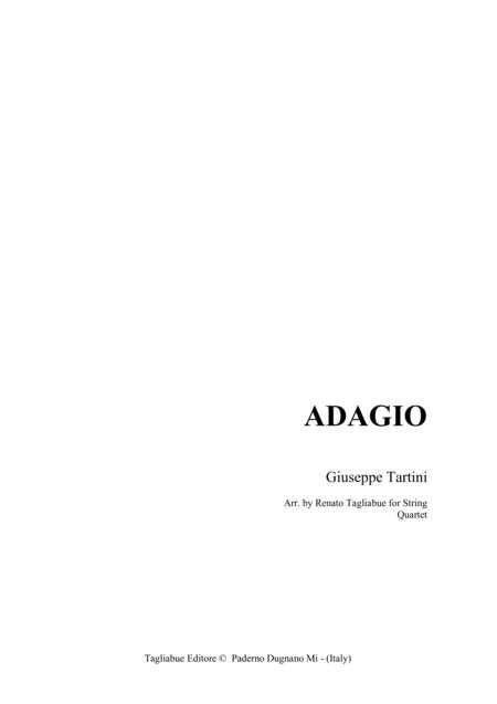 ADAGIO di G. Tartini - Arr. for String Quartet - Set of Parts