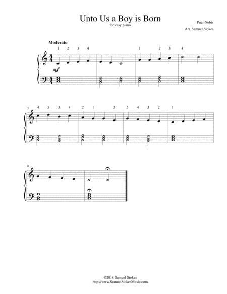 Unto Us a Boy is Born - for easy piano