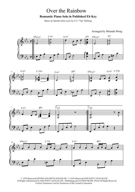 Over The Rainbow (from The Wizard Of Oz) - Romantic Piano Solo in Eb (With Chords)