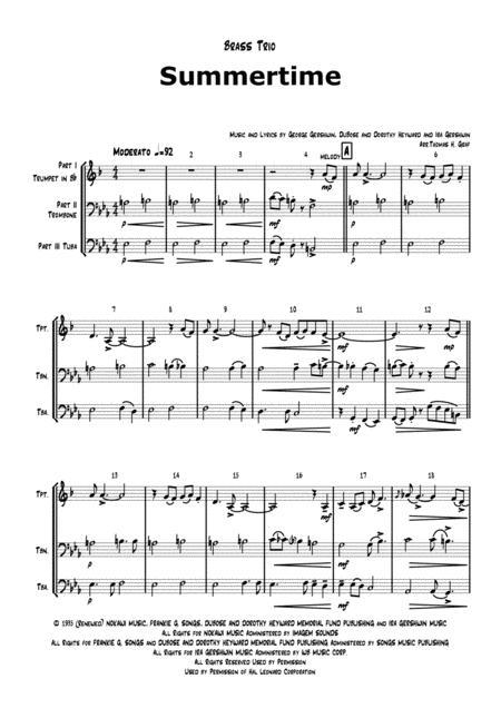 Summertime - Gershwin - Ballad - Brass Trio Low