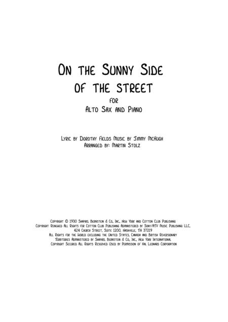 On The Sunny Side Of The Street for Alto Sax and Piano