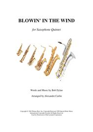 Blowin' In The Wind - Saxophone Quintet or Ensemble