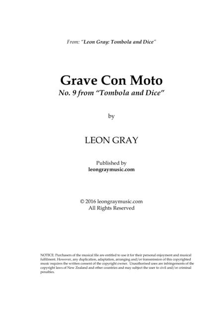 Grave Con Moto, Tombola and Dice (No. 9), Leon Gray